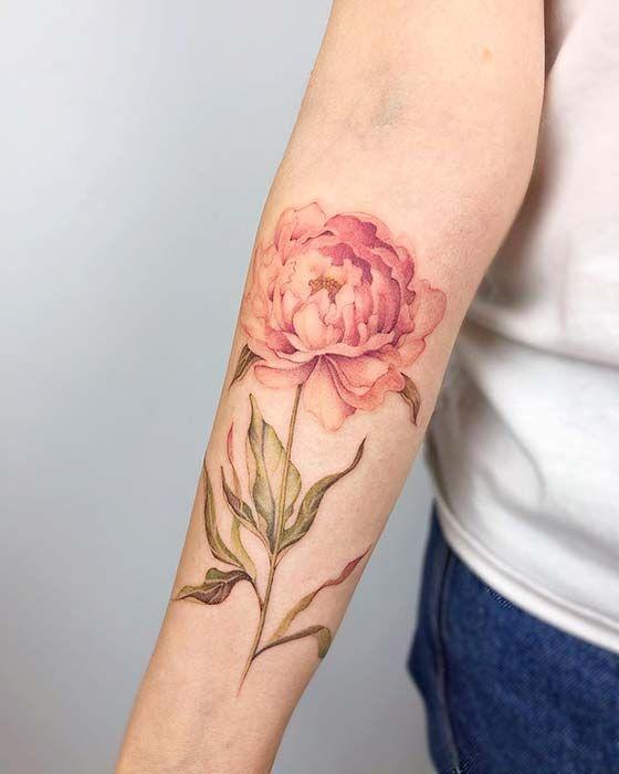 Peony Watercolor Flower Tattoos