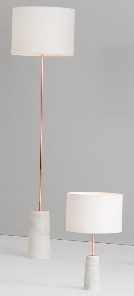 Rita floor lamp, £139 and table lamp, £79, MADE.COM You can't beat natural materials for a luxurious design. By using beautiful marble, each of our Rita floor lamps is unique with its own patterns and lines, and is finished with a trend-led copper stem.