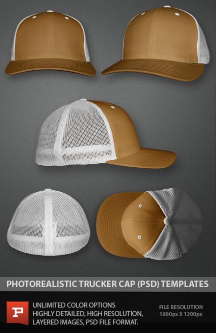 Photo Real Flexfit trucker cap template mockup file.