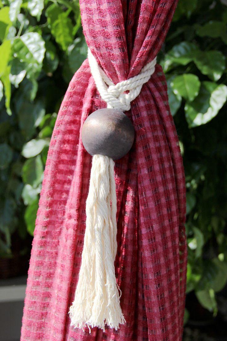 100% Cotton Curtain Tieback Natural wood ball Tassel Cotton Rope Tie Backs
