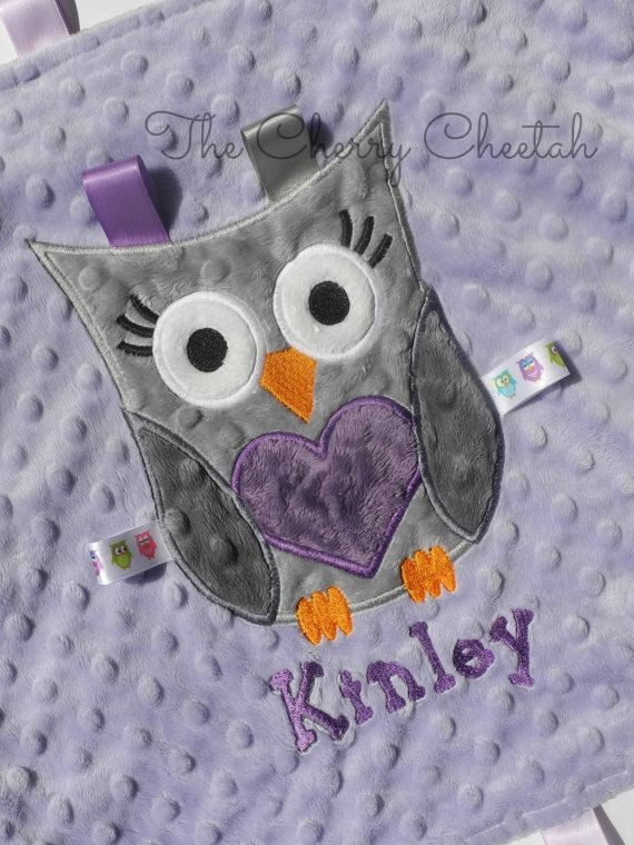 Personalized Baby Blanket, Baby Girl Owl Lovey, Purple and Gray, Minky Chevron Blanket, Minky Baby Blanket, Made to Order, Custom on Etsy, $22.99