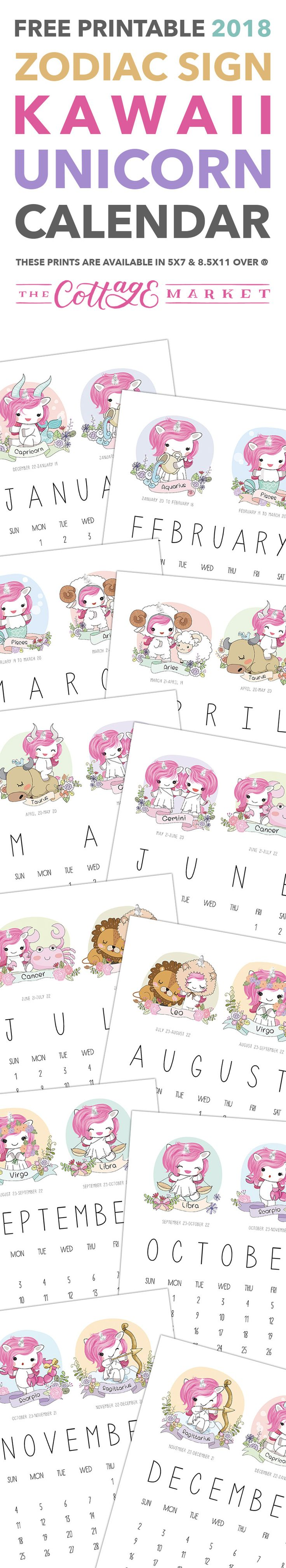 Free Printable 2018 Zodiac Sign Kawaii Unicorn Calendar