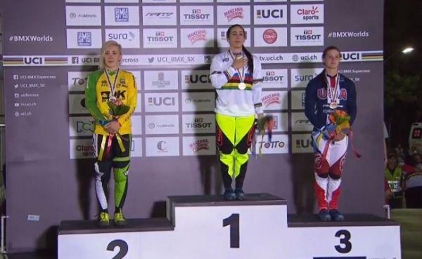 Mariana Pajón, campeona mundial de BMX, el 29 de mayo en Medellín