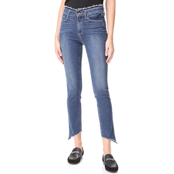 PAIGE Frayed Hoxton Ankle Peg Jeans ($240) ❤ liked on Polyvore featuring jeans, fray with angled frayed hem, high rise jeans, high waisted blue jeans, zipper jeans, super high rise skinny jeans and high rise skinny jeans