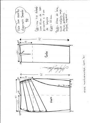 Esquema de modelagem de saia com recorte diagonal tamanho 40.
