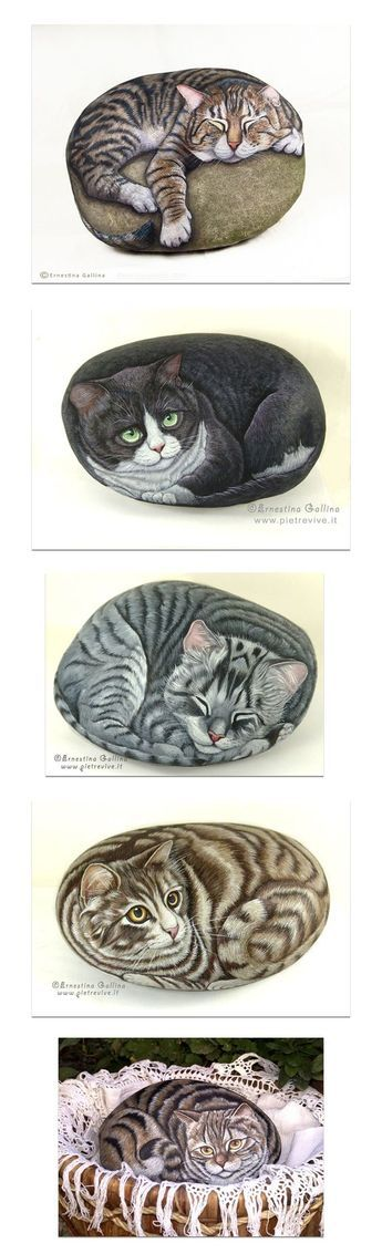PIETREVIVE - cat portraits on rock, hand painted with acrylic colors