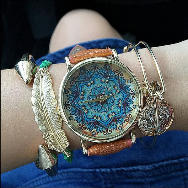 Vintage+Floral+Dames+Stijlvol+Lederen+Horloge+van+missyouparty+op+DaWanda.com