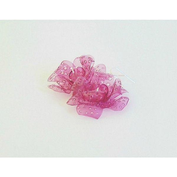 Eco friendly earrings, flower earrings, eco friendly, recycled earrings, recycled jewelry, upcycled earrings, earrings, long earrings, pink (66 PLN) found on Polyvore featuring women's fashion, jewelry and earrings