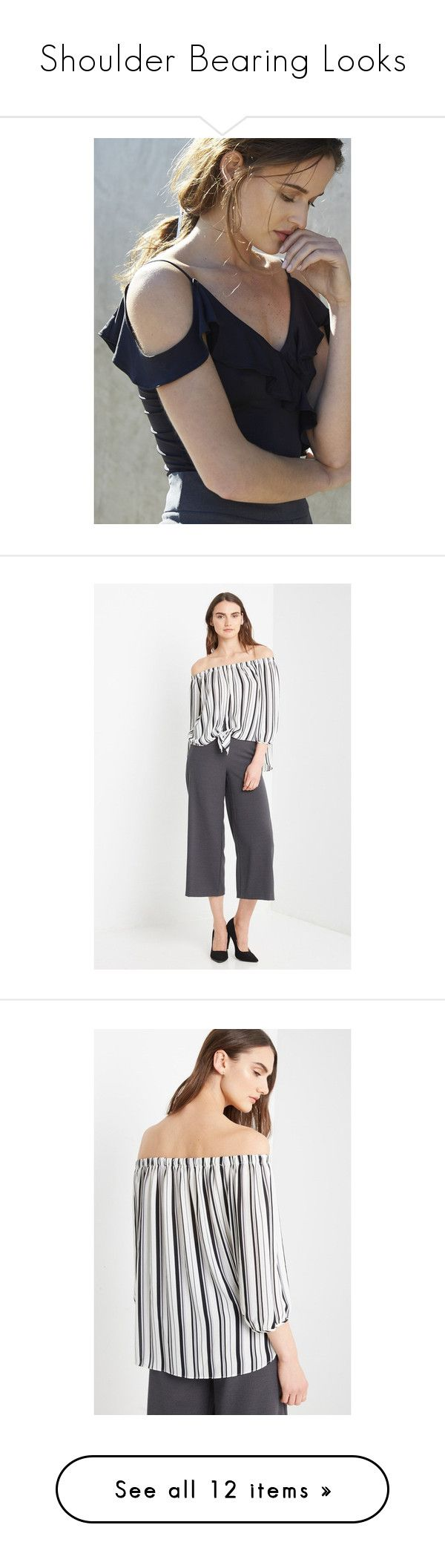 """""""Shoulder Bearing Looks"""" by poshsquare on Polyvore featuring PoshSquareStyle, tops, bubble sleeve top, white top, cut out shoulder top, white open shoulder top, white puff sleeve top, puff sleeve top, cut-out shoulder tops and white cold shoulder top"""