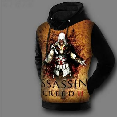 Super Quality Double Fleece Lined 3D Printed Pullover Coat Assassins Creed Hoodie Jackets Assasins Creed Sweatshirt Winter Pull