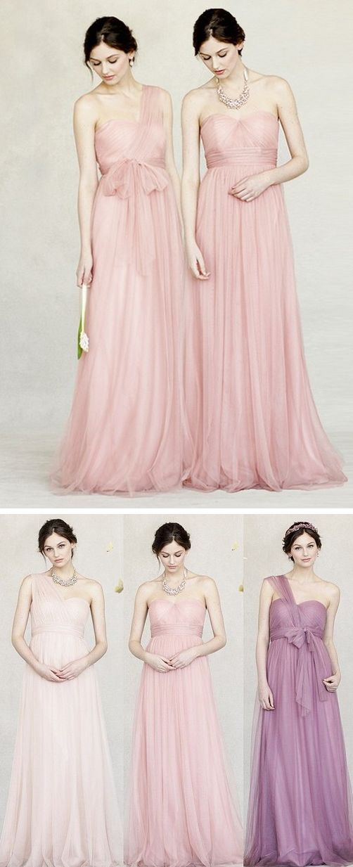 Pretty pastels -- Bridesmaid Dresses that can be worn up to 15 different ways! #bridesmaiddresses