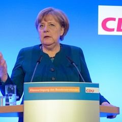 Chancellor Merkel speaks after the closed meeting of the CDU federal board in Perl, Germany