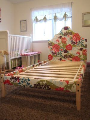 Upholstered wooden bed frame from Ikea