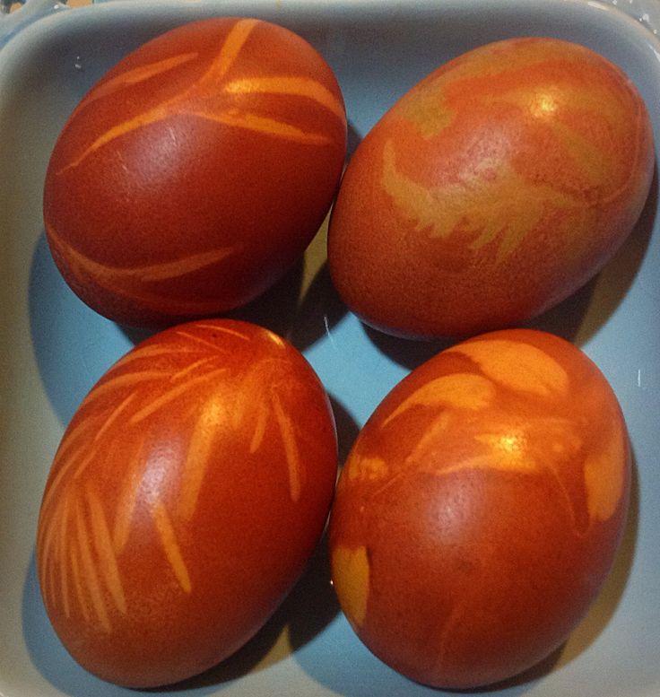 Easter eggs - leaf  eco prints in an onion skin dye bath