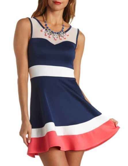 Mesh Yoke Color Block Skater Dress: Charlotte Russe
