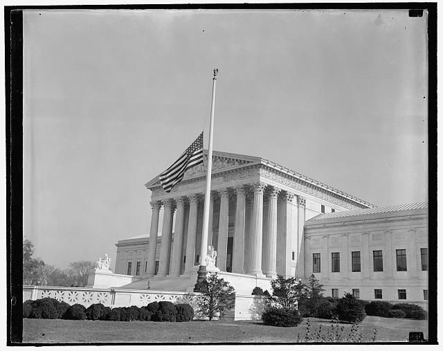 Flag at Supreme Court lowered at half-mast. Washington, D.C., Nov. 16. The flags in front of the United States Supreme Court were lowered to half-mast today out of respect to Associate Justice Pierce Butler, who died this morning at emergency hospital after a long illness