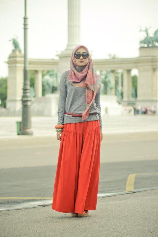 Summer Orange - Dian Pelangi. Casual with wide leg pants