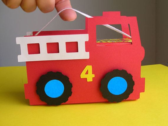 Fire Truck Birthday Party Favor set of 8 by DianesPaperParty