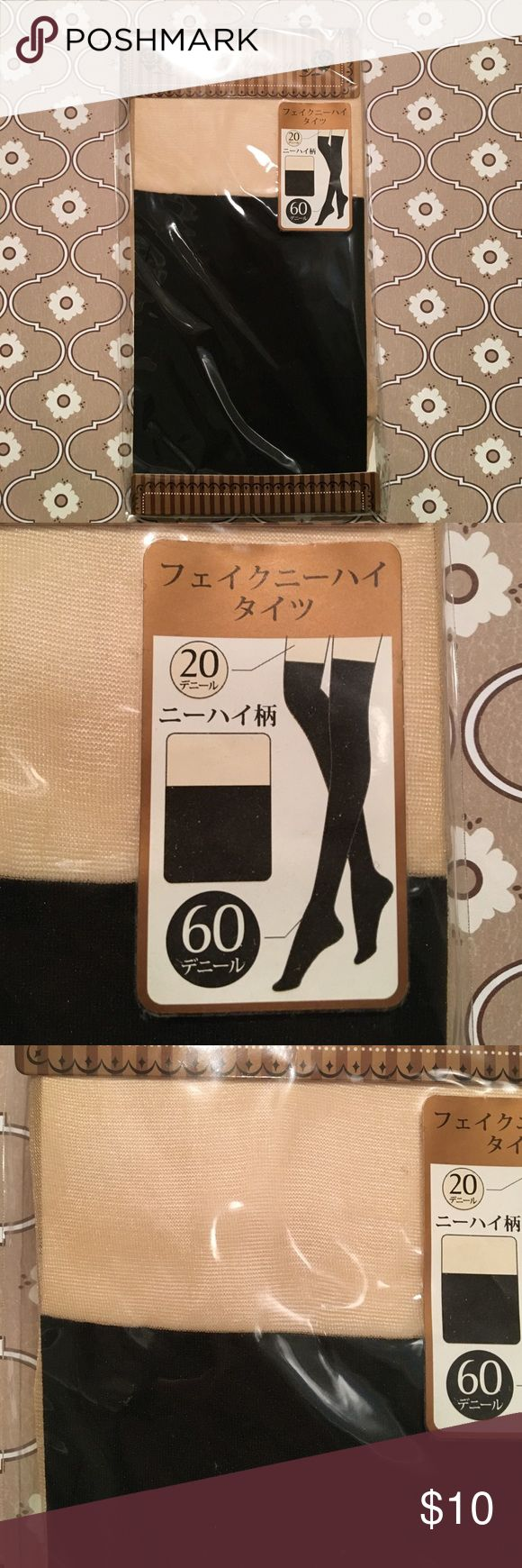 """Faux knee-high black tights Faux knee-high S•P Collection by Studio P.O.A.C. Black tights. Opaque black (60 denier) to above the knee, then a cream-colored thigh and top (20 denier) to give the illusion of bare skin (if you are pale). Hip: 85-98 cm (33-38 in.). Height: 150-165 cm (4'11"""" - 5'5""""). Originally bought in Japan, so think smaller sizing. New, never opened. Made of nylon & polyurethane. Washing directions (as listed on package): Hand wash in water no more than 30 C / 86 F, do not…"""