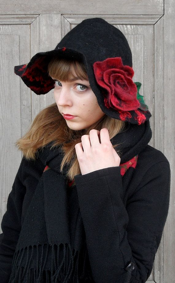 Unique and elegant felted hat in bohemian style with large wavy brim. Stylish black hat with big red rose. Its made nuno felt technique with silk fabric