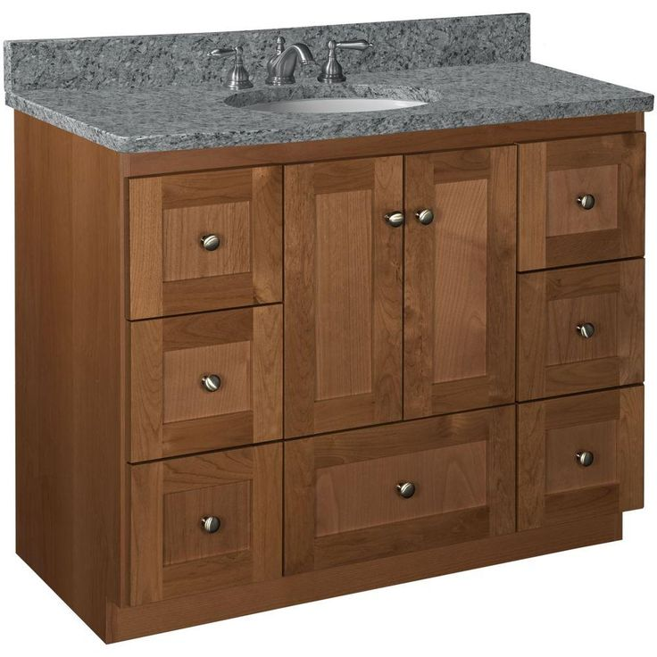 Home Depot Vanity Lights >> Simplicity by Strasser Shaker 42 in. W x 21 in. D x 34.5 in. H Vanity Cabinet Only in Medium ...