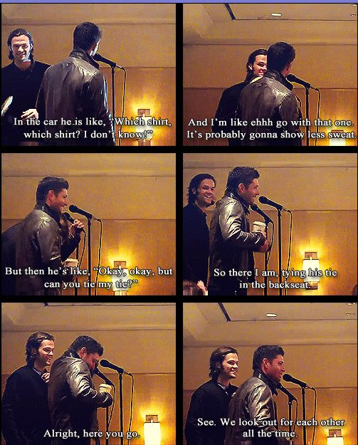 I love how close Jared and Jensen are and how much of a big/little brother relationship it really is. It makes the show all the more fun to watch ;)