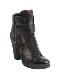 Prada | Black And Camo Leather And Nylon Heeled Combat Boots | Lyst