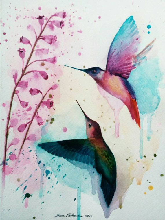 Check out this item in my Etsy shop https://www.etsy.com/listing/254767566/hummingbirds-original-watercolor