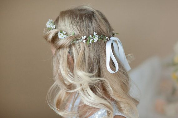 flower girl crown white flower crown first by thehoneycomb on Etsy