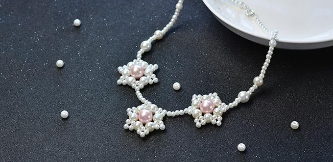 Pandahall Original DIY Project - How to Make a Pretty Pearl Beaded Flower Necklace