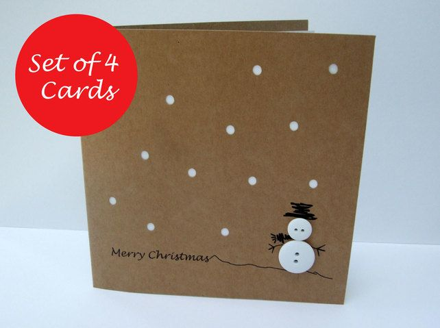 Pack of 4 Button Snowman Christmas Cards £8.80