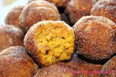 Pumpkin Poppers - Basically a pumpkin donut hole that has been dunked in butter and rolled in cinnamon and sugar!