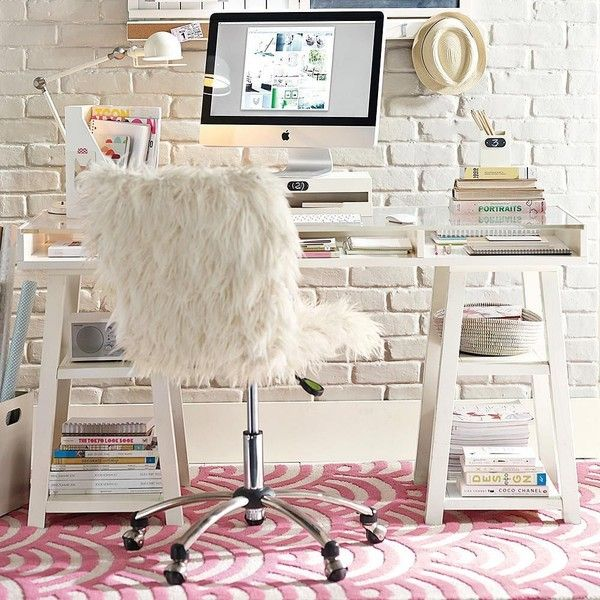 PB Teen Customize Acrylic Desk, Simply White at Pottery Barn Teen -... ($949) ❤ liked on Polyvore featuring home, furniture, desks, white home office desk, acrylic desk, acrylic furniture, white desk and pbteen furniture