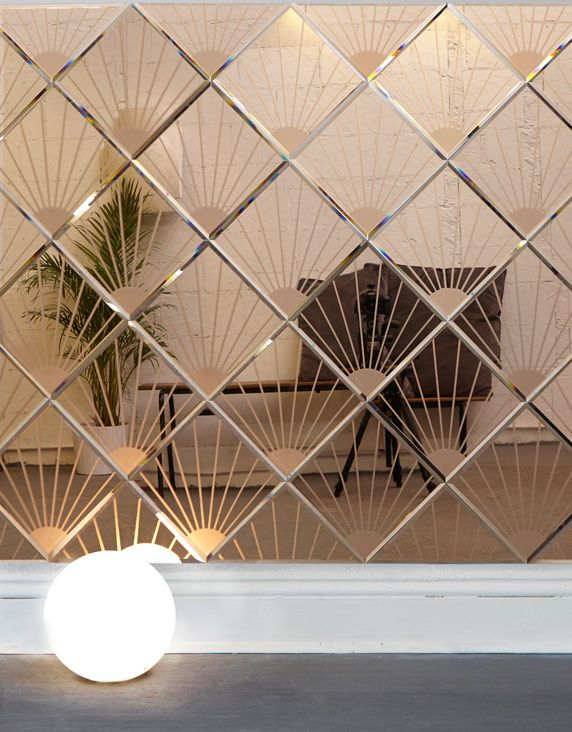 One of our newest additions to the AKollection. Bevelled, sandblasted and tinted mirror glass wall tiles. Each tile measures 261mm square x 4mm. Corner to opposite corner measures 370mm, as displayed on the diagonal. This tile is available in three tinted mirror colours.