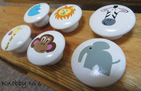 Nursery Animal Hand Painted Drawer Knobs | Dresser Pulls | Nail Covers - Giraffe - Zebra - Lion - Bird - Elephant - Monkey