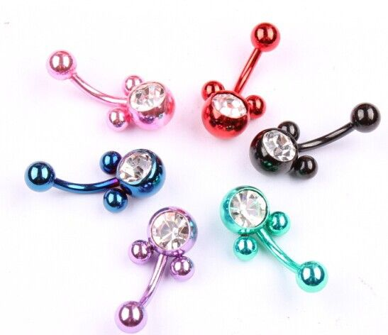 New Retail 1pc Mickey Mixed Belly Button Rings Body Piercing Crystal Navel Bar