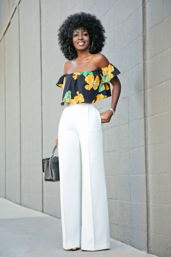 Floral Off Shoulder Blouse + White High Waist Pants Style Pantry waysify