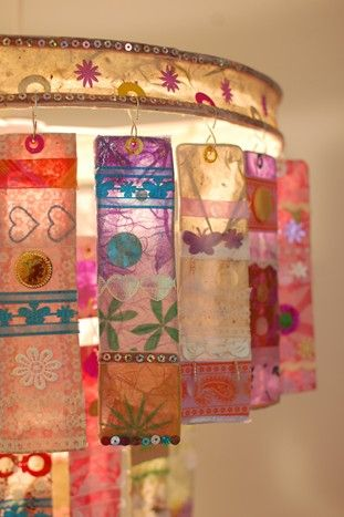 3 tier chandelier made from papier mache strips of homemade paper & adorned with shiny sequins, paper & colorful trimmings