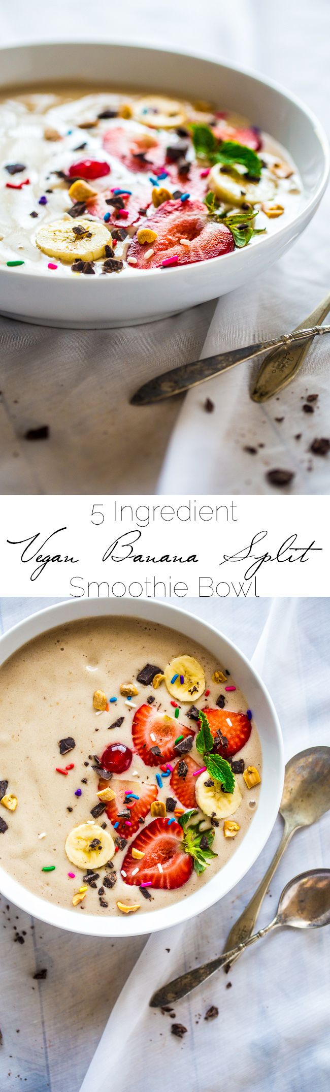 Banana Split Vegan Smoothie Bowl - Made with only 5 ingredients, ready in 5 minutes, tastes like a banana split, and is secretly healthy enough for breakfast! Paleo friendly and gluten free too!   Foodfaithfitness.com   @FoodFaithFit