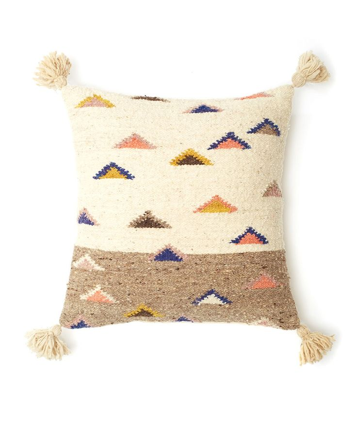 The Mountain Pillow was handwoven on a pedal loom by skilled artisans in Totonicapan, Guatemala. | huntingforgeorge.com