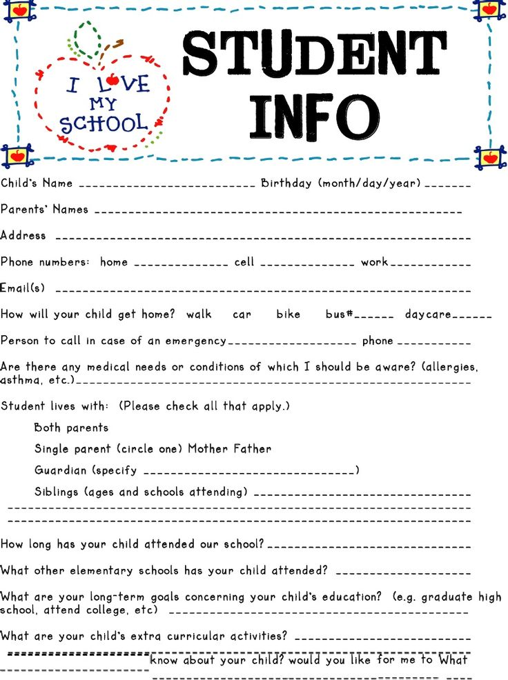 Best  Student Information Sheets Ideas On   Student
