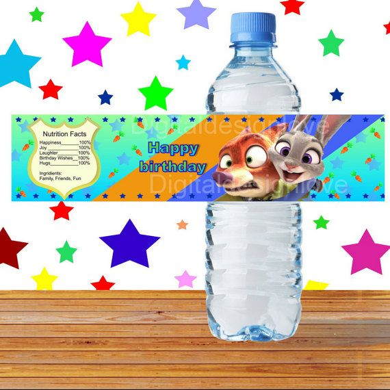 Zootopia Bottle Labels Zootopia Drink Labels by Digitaldesignlove