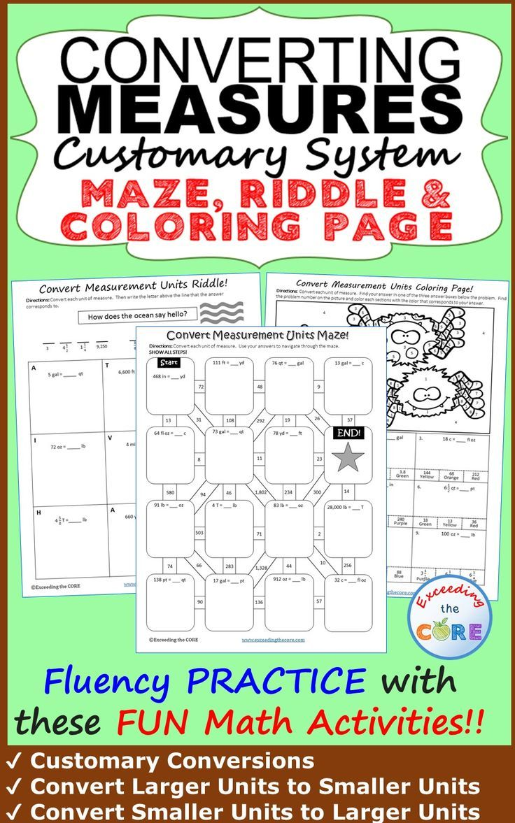 Have your students apply their understanding of CONVERTING CUSTOMARY UNITS OF MEASURE with these fun activities including a maze, riddle and coloring activity. Over 30 skills practice questions. Perfect for math stations, math homework or math assessment prep. Topics Include: Customary Conversions (including length, weight and capacity); Convert Larger Units to Smaller Units; Convert Smaller Units to Larger Units 5th grade 6th grade math common core 5.MD.1, 6.RP.3