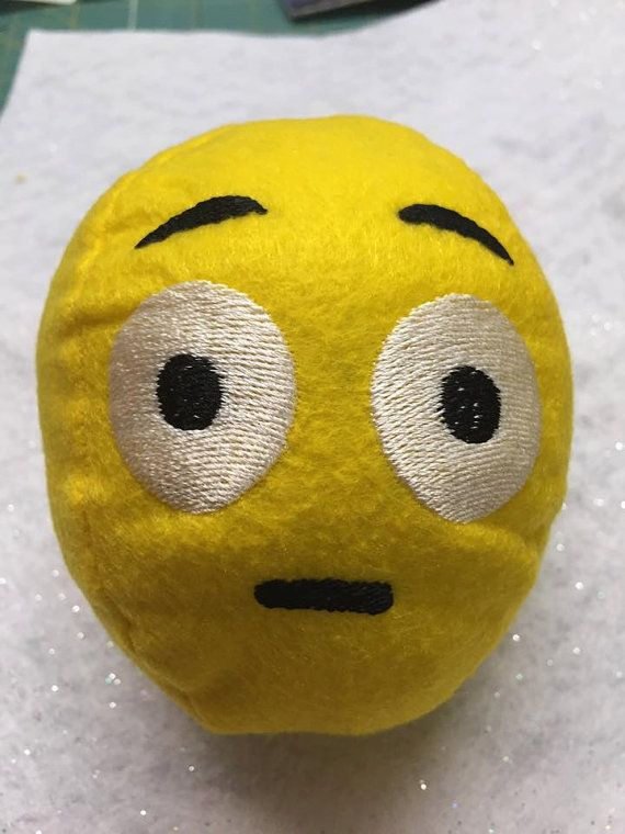 Shocked Emoji Snowball  3D Machine Embroidery by WhimsyDolls