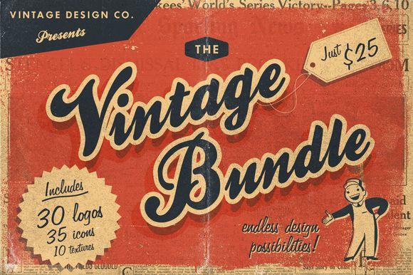 30 Vintage Logos Bundle by Vintage Design Co. on Creative Market