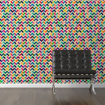 "Walls Need Love Dimensional Retro Removable 10' x 20"" Chevron Wallpaper"