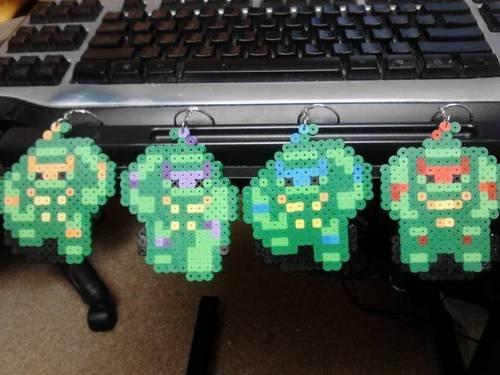 Teenage Mutant Ninja Turtles Perler Bead KEYCHAINS or MAGNETS -- Handmade !!