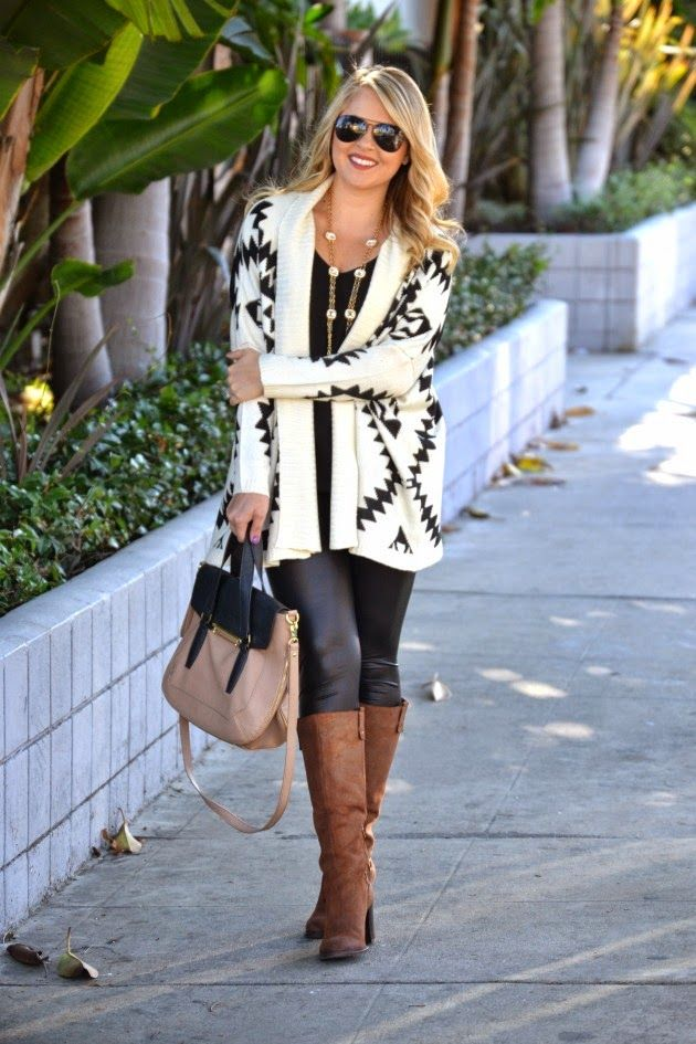 Black and White Aztec/Tribal Cardigan: I paired this oversized sweater with leather leggings, brown Nicole boots, a brown and black handbag and gold jewelry (via @dmcheever)