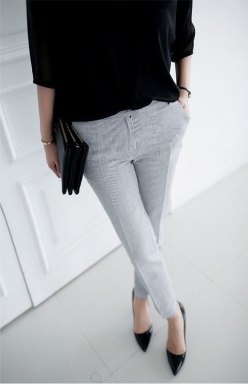 black sweater, grey trousers, clutch & pumps #style #fashion #workwear