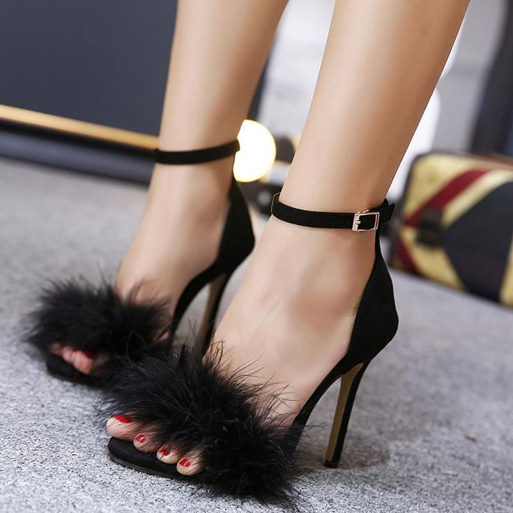 Women Summer Shoes gladiator High Heel Sandals 2017 Fashion Fur thin heels Sandlias women Sandals Sexy Ladies Shoes size 35-40